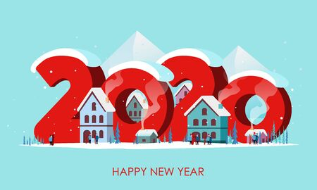Winter travel 2020. Travel to World. Vacation. Road trip. Tourism. Journey. Travelling illustration. Happy New Year and Merry Christmas banners in flat style. Colorful. EPS 10 Vectores