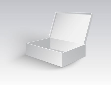 Open White Cardboard Carton Gift Box With Lid. Illustration Isolated on a transparent background. Vector EPS10 Stock Illustratie