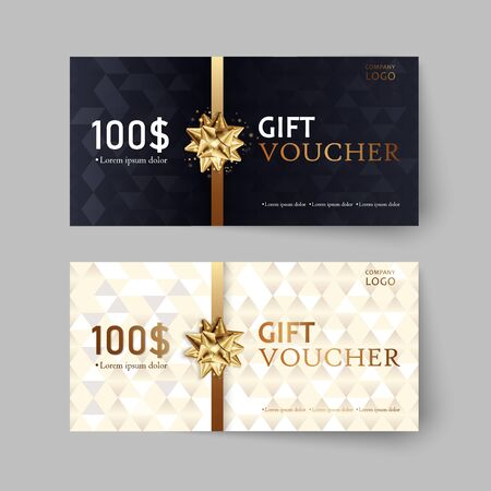 Vector set of luxury gift vouchers with ribbons and bow. Elegant template for a festive gift card, coupon and certificate. Discount Coupon Template. Vector Illustration Vettoriali