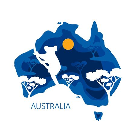 AUSTRALIA day 26 January. Decorative 3d paper cut map of Australia continent with kinguru silhouettes and trees. Vector illustration EPS 10