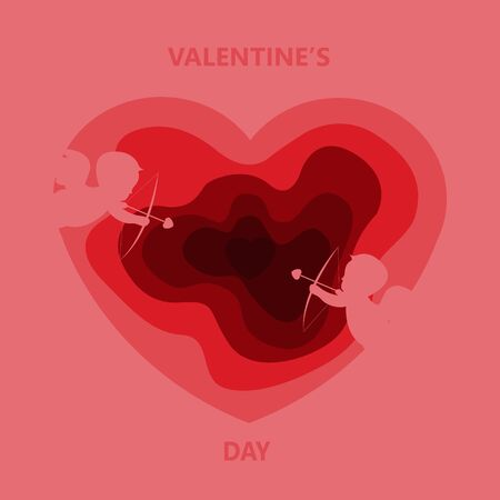 Valentines day. Poster with red and pink hearts background. Vector illustration Иллюстрация
