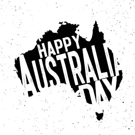 Happy Australia Day.26 january. Map of Australia with flag on a blue background. Vector illustration EPS10