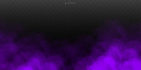 Fog or smoke isolated transparent special effect. White vector cloudiness, mist or smog background. Vector illustration Vettoriali