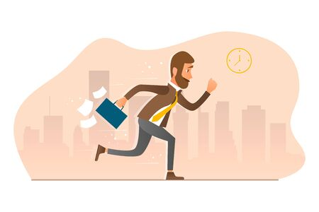 Man in a business suit with a briefcase runs against the backdrop of the city. Cartoon style. Illustration Being Late for Work. 免版税图像