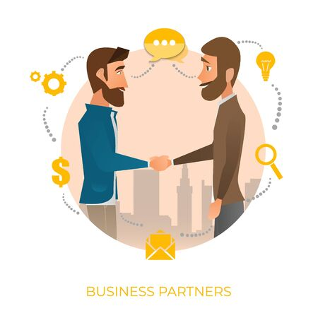 Cooperation. Organization collaboration. Business porters a successful team. The investor holds money in ideas. Concept business, Teamwork, Partner. Vector illustration on white background Фото со стока
