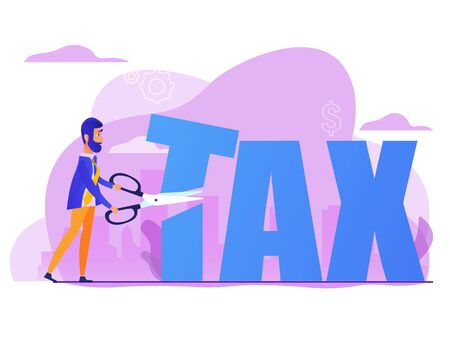 Business jumping from spring through taxes. Concept of lower tax. Design element for banner, poster, web. Concept business vector illustration. Flat cartoon design 免版税图像 - 143333518
