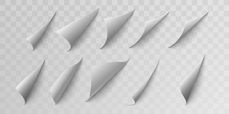 Set curled page corner. Curve page corner, pages edge curl and bent papers sheet with. Realistic shadow. Isolated vector illustration 免版税图像 - 143333525