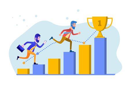 Business goal achievement. Businessman runs to the goal. Concept business vector illustration