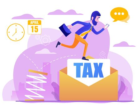 Business jumping from spring through taxes. Concept of lower tax. Design element for banner, poster, web. Concept business vector illustration. Flat cartoon design