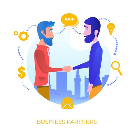 Cooperation. Organization collaboration. Business porters a successful team. The investor holds money in ideas. Concept business, Teamwork, Partner. Vector illustration on white background 免版税图像