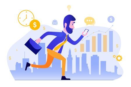 Man in a business suit with a briefcase runs against the backdrop of the city. Cartoon style. Vector Illustration Being Late for Work.