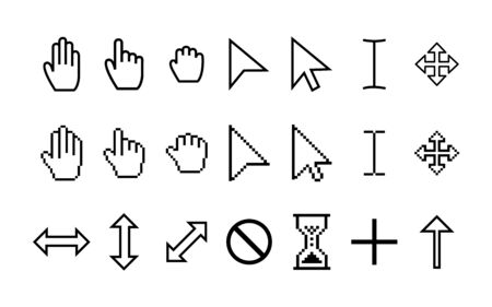 Set pointer cursor icons. Arrow web cursors, digital hand pointers pictograms. Clicking and grab hand pixel icon. Vector illustration eps10