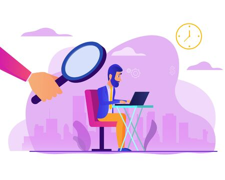 man works under the supervision of a boss. Superiors is watching over employee. Design element for banner, poster, web. Concept business vector illustration. Flat cartoon design
