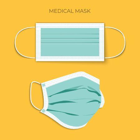 Protective breathing medical respirator mask against the virus. Stop coronavirus. Coronavirus outbreak. Medical concept. 矢量图像