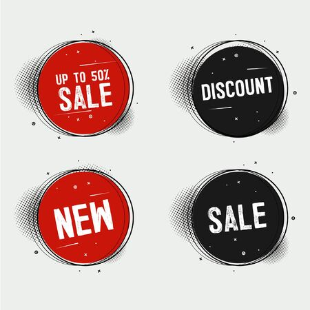 Price tag and best sale collection. Red ribbon sale banners isolated. New connection offers. Vector illustration EPS10