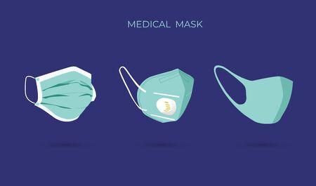 Protective breathing medical respirator mask against the virus. Stop coronavirus. Coronavirus outbreak. Ilustração