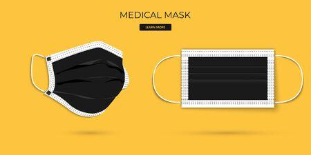 Protective breathing medical respirator mask against the virus. Stop coronavirus. Coronavirus outbreak. 矢量图像