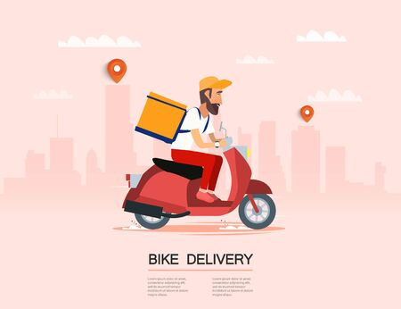 Delivery, the guy on the bike carries the parcel.