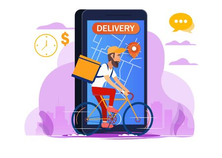 Delivery, the guy on the bike carries the parcel. Urban landscape. courier driving bike fast food food. Flat design vector illustration. Иллюстрация