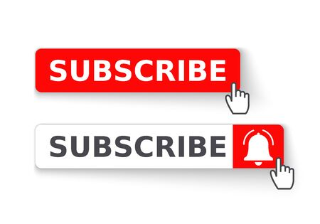 Social media background subscribe. Template subscribe button with bell and cursor. Social media. Vector illustration. 矢量图像