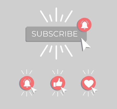 Social media background subscribe. Template subscribe button with bell and cursor. Social media. Vector illustration. Иллюстрация
