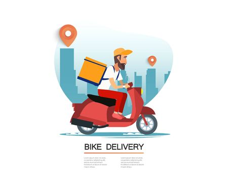 Delivery, the guy on the bike carries the parcel. Urban landscape. courier driving bike fast food food. Flat design vector illustration. 免版税图像 - 148262633