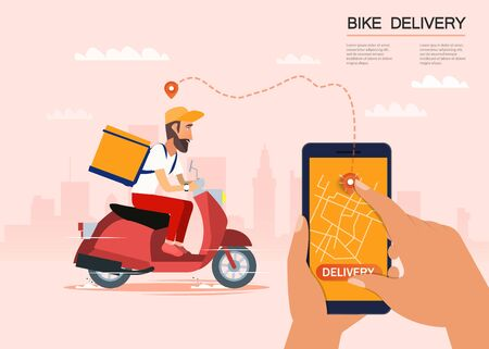 Delivery, the guy on the bike carries the parcel. Urban landscape. courier driving bike fast food food. Flat design vector illustration. 矢量图像