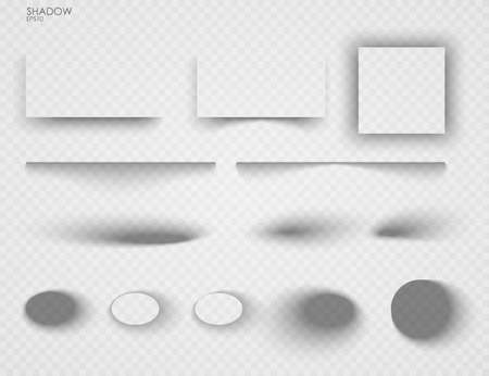 Vector shadows isolated. Set of shadow effects. Transparent paper and objects box square shadows. Wall and floor drop shadow vector collection Иллюстрация