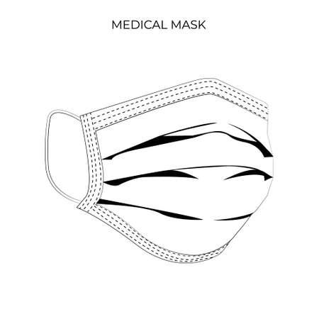 Protective breathing medical respirator mask against the virus. Stop coronavirus. Coronavirus outbreak. Medical concept. Vector illustration EPS 10 矢量图像