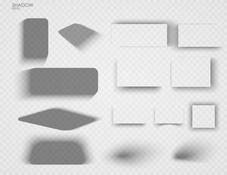 Vector shadows isolated. Set of shadow effects. Transparent paper and objects box square shadows. Wall and floor drop shadow vector collection 免版税图像 - 153571634
