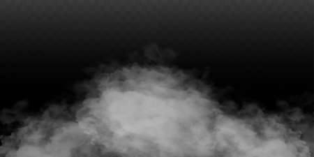 Fog or smoke isolated transparent special effect. White vector cloudiness, mist or smog background. Vector illustration Фото со стока