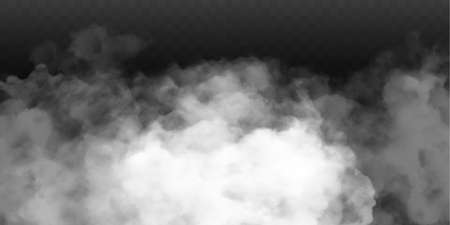 Fog or smoke isolated transparent special effect. White vector cloudiness, mist or smog background. Vector illustration 免版税图像 - 153584352