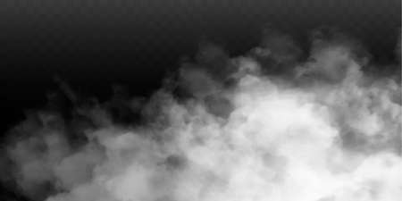 Fog or smoke isolated transparent special effect. White vector cloudiness, mist or smog background. Vector illustration 免版税图像 - 153623801