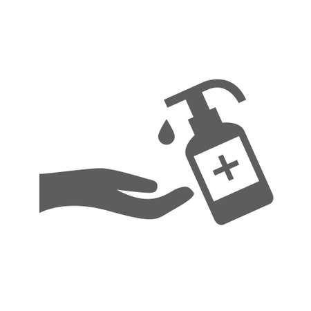 Hand sanitizer icons set in trendy flat style isolated on white background. Vector illustration EPS10. Иллюстрация