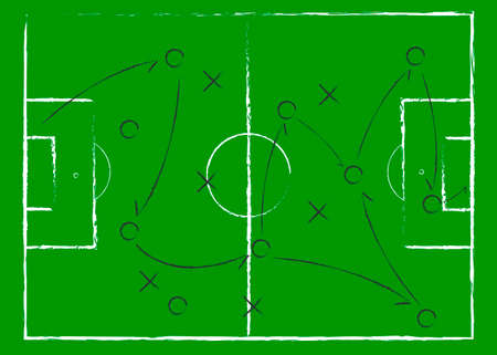 Soccer game tactical scheme. The scheme of the game. Strategy. Tactics. On the chalkboard. For your design. Vector chalk graphic on black board 免版税图像 - 153586575