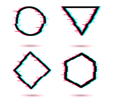 Vector glitch set. Digital distorted geometric shapes square, triangle, circle, rhombus. 免版税图像 - 154732730
