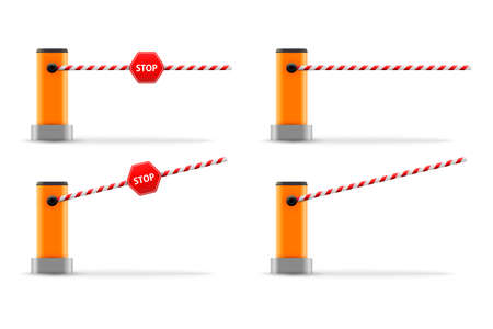 Vector illustration of open, closed parking car barrier gate set with stop sign. 免版税图像 - 153888034