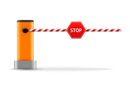 Vector illustration of open, closed parking car barrier gate set with stop sign.