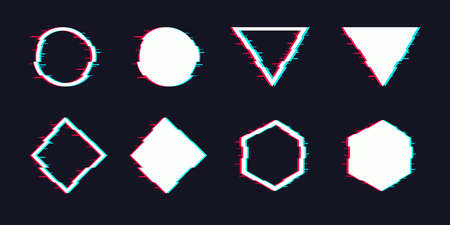 Vector glitch set. Digital distorted geometric shapes square, triangle, circle, rhombus.