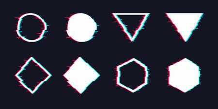Vector glitch set. Digital distorted geometric shapes square, triangle, circle, rhombus.