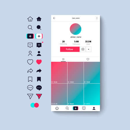 Web icons template, app, ui. Social media concept. 免版税图像 - 154732734