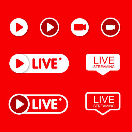 Set Live and play icons. Social media concept. 免版税图像 - 154732742