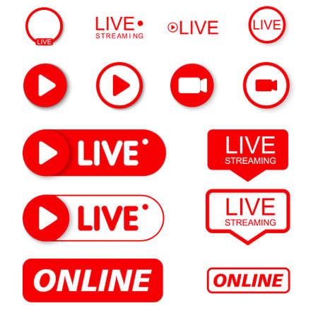 Set Live and play icons. Social media concept. 免版税图像 - 154732102