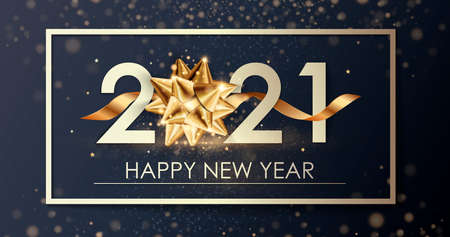 Happy New Year 2021 winter holiday greeting card design template. Party poster, banner or invitation gold glittering stars confetti glitter decoration. Vector background with golden gift bow
