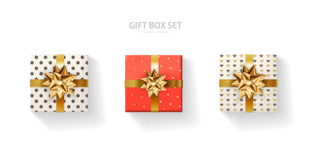 Set of gift box with a gold bow on a white background. Realistic top view. Иллюстрация