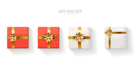 Set of gift box with a gold bow on a white background. Realistic top view. 矢量图像