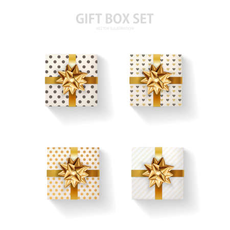 Set of gift box with a gold bow on a white background. Realistic top view. 免版税图像 - 154732665