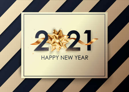 Happy New Year 2021 winter holiday greeting card design template. Party poster, banner or invitation gold glittering stars confetti glitter decoration. 免版税图像 - 154732670