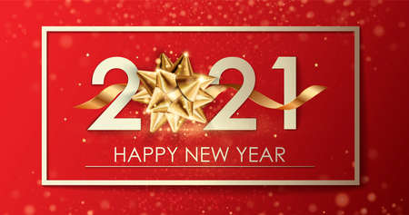 Happy New Year 2021 winter holiday greeting card design template. Party poster, banner or invitation gold glittering stars confetti glitter decoration. 免版税图像 - 154732675
