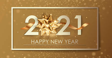 Happy New Year 2021 winter holiday greeting card design template. Party poster, banner or invitation gold glittering stars confetti glitter decoration. 免版税图像 - 154732681